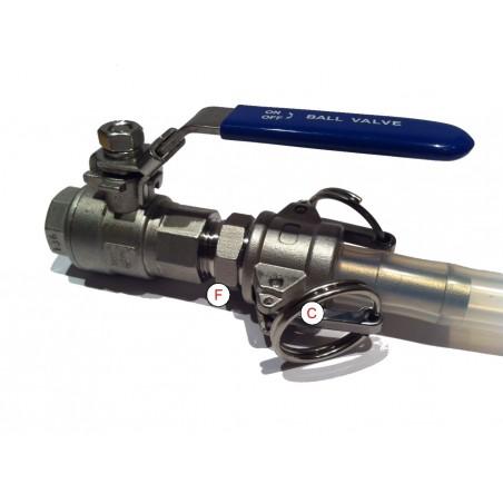"""Kamlock / Camlock 1/2"""" BSP Type D Acier inoxydable"""