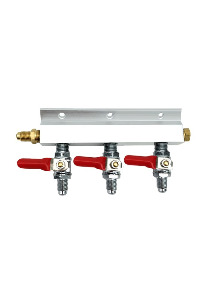 "3 Way Gas Splitter Manifold with 1/4"" MFL Threads"
