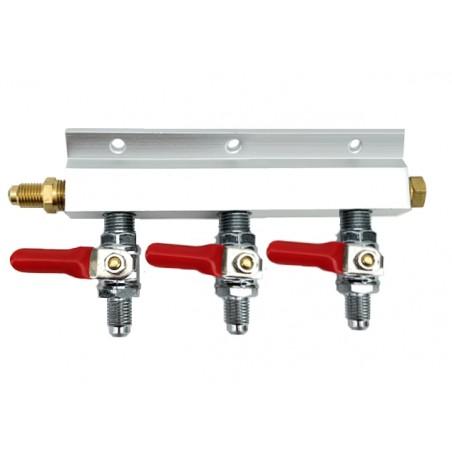 """Distribuidor de divisor de gás de 3 vias com roscas MFL de 1/4 """""""