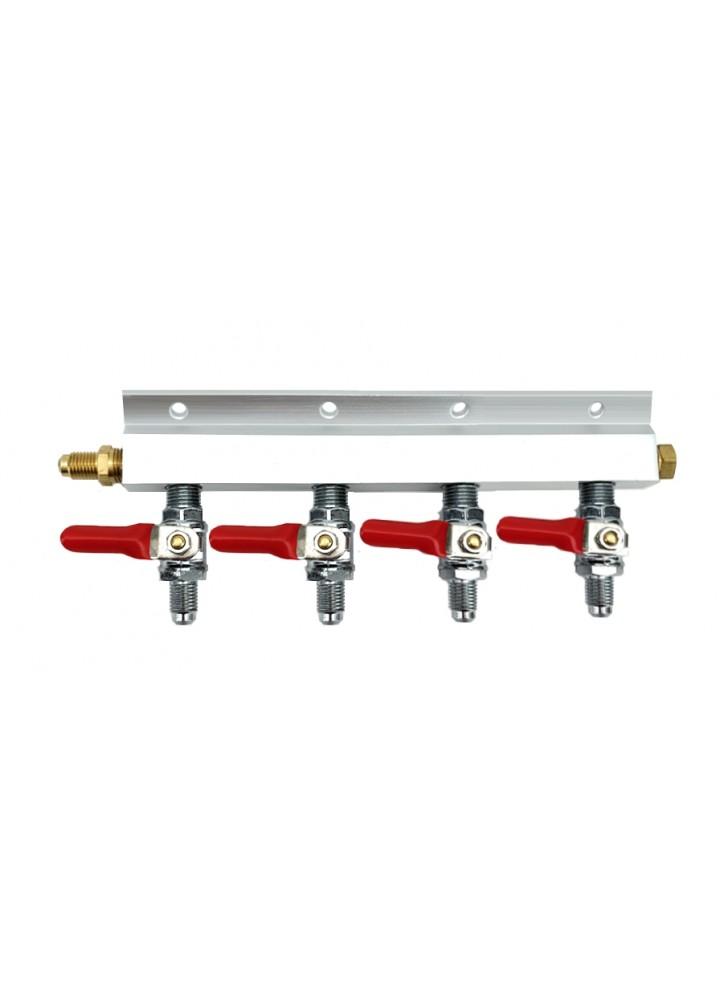 """Distribuidor de divisor de gás de 4 vias com roscas MFL de 1/4 """""""