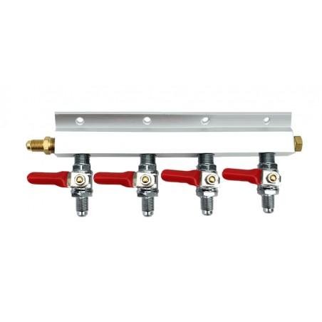 "4 Way Gas Splitter Manifold with 1/4"" MFL Threads"