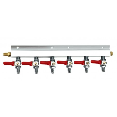 """Distribuidor de divisor de gás de 6 vias com roscas MFL de 1/4 """""""