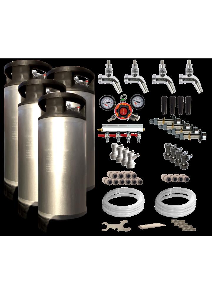 Quadruple Faucet Kegerator / Keezer Kit