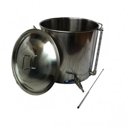100L Inox Pot aço com Tap e Visor
