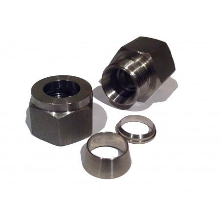 """1/2"""" BSP feminino para 1/2"""" Adaptador de compressão de aço inoxidável"""