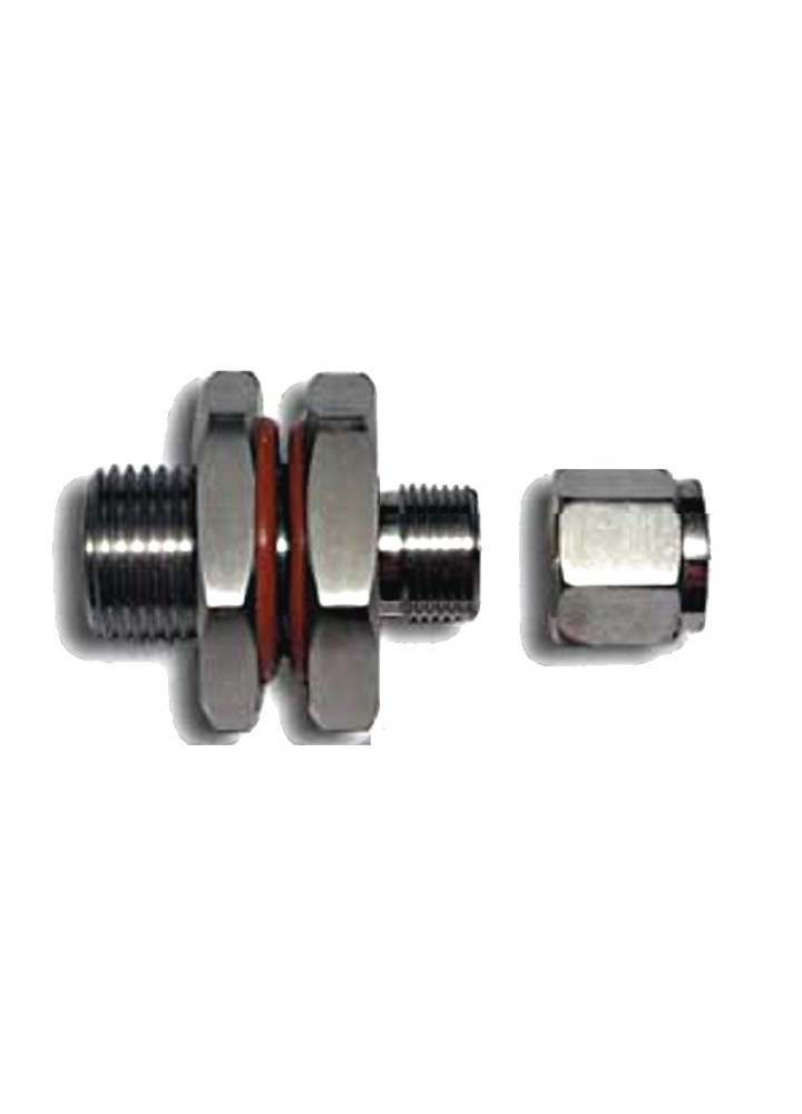 """SS Weldless Bulkhead 3/8"""" Compression to 1/2"""" BSP Male"""
