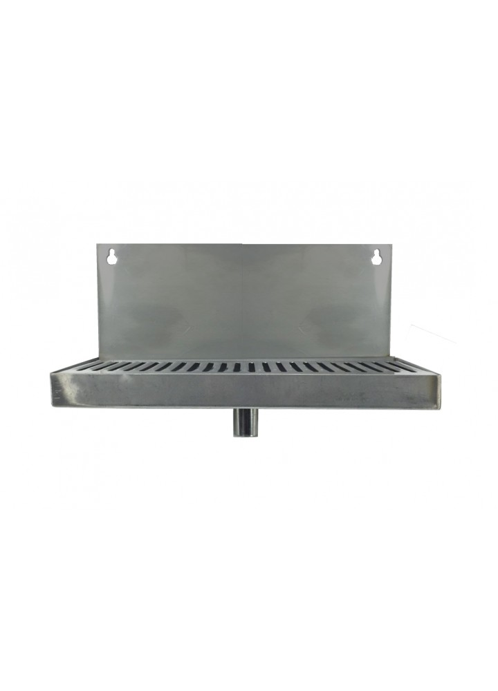 "12"" x 5"" Stainless Steel Drip Tray with Drain"